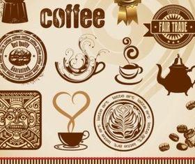 Vintage style coffee elements vectors