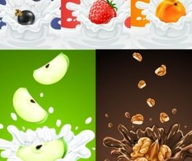 Fruit and milk vector
