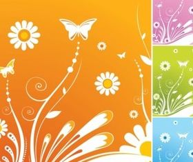 Spring Flowers Butterfly vectors material