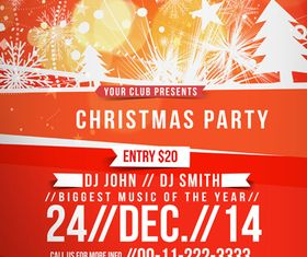 Christmas Party poster 4 design vector