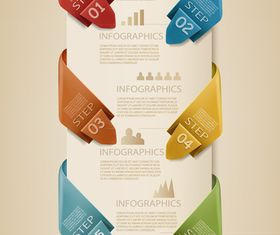 Number Origami Infographics 4 vector graphics