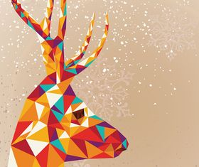 Tangram Reindeer Merry Christmas background vector