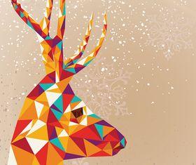 Tangram Reindeer Merry Christmas background vector
