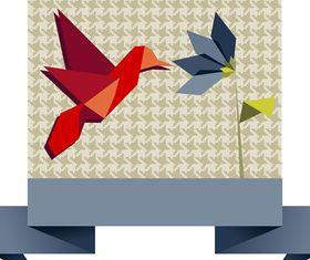 Cute Origami Bird Background 1 set vector