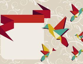 Cute Origami Bird Background 2 set vector