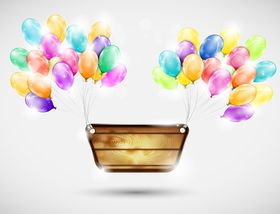 Color balloon and labels background vector graphic