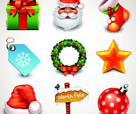 Cute Christmas Object icons 1 vector