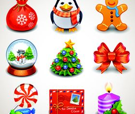 Cute Christmas Object icons 2 vector
