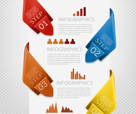 Number Origami Infographics 1 vectors material
