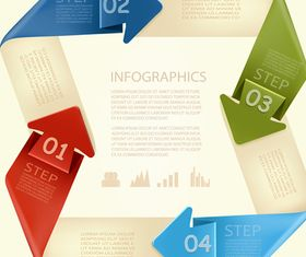 Number Origami Infographics 3 vectors material