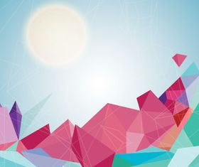 Abstract shapes and sun background vector