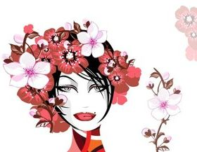 Girl hair and flower 1 vector
