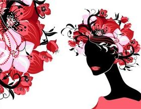 Girl hair and flower 2 vector