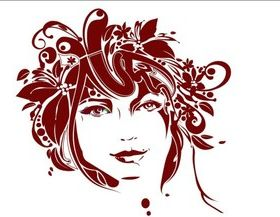 Girl hair and flower 3 vector