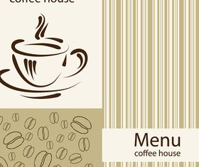 Coffee house menu cover vector material