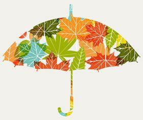 Autumn Leaf umbrell background vectors