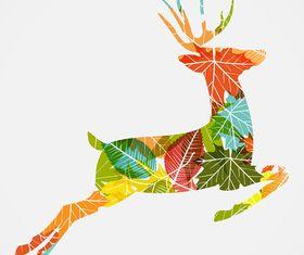 Autumn Leaf Deer background vector