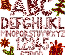 Christmas Letters and numbers 1 vector