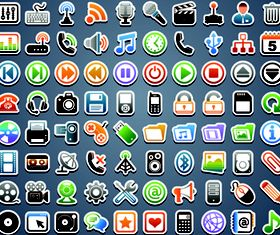 Web medi icons shiny vector