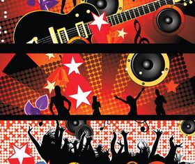 Party music banner 01 vector