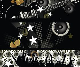 Party music banner 02 vector