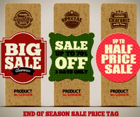 Retro Cardboard tags 2 vector