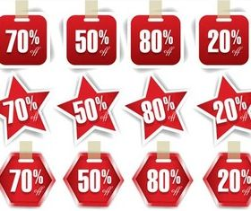 Creative Red Stickers vector design
