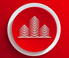 3D Paper cut red and white background vector