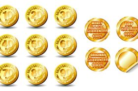 Gold Currency and stickers vector