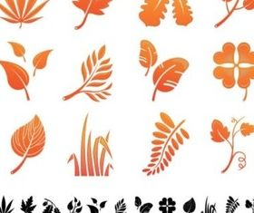 Golden yellow leaves silhouette vector
