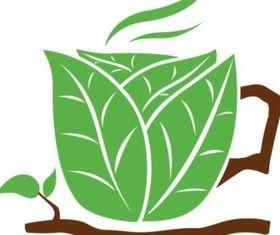 Green composition creative coffee cup vector