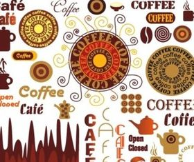 Different Design elements coffee set vector