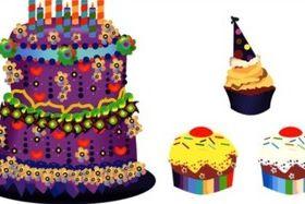 Cartoon style sweet cake vectors material