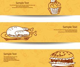 Hand-drawn food banner 2 shiny vector