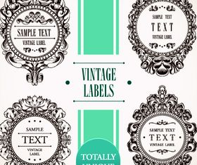Vintage floral labels vector