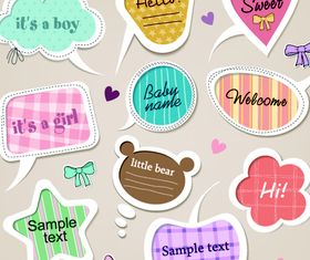 Cartoon cute text clouds 2 vector