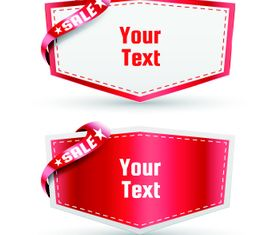 Red ribbon sale labels 1 vector