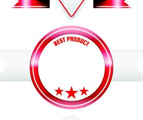 Red ribbon sale labels 2 vector