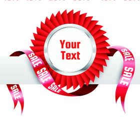 Red ribbon sale labels 4 vector