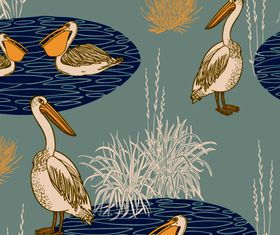 pelican seamless pattern vectors graphic