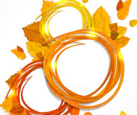 Abstract Ribbon Autumn leaf background vector material