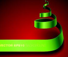 Green ribbon background vector