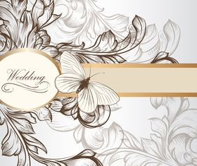 Draw floral wedding invitation background 1 vector