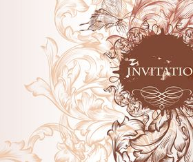 Draw floral wedding invitation background 2 vector