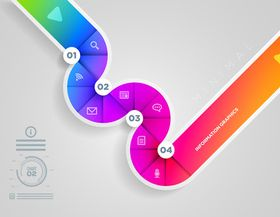 Ribbon number infographic graphics 4 vector