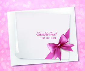 Blank paper and bow cards creative vector