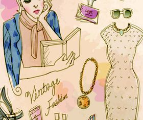 Vintage Fashion Female element vector