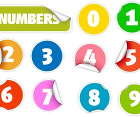 Number Sticker vector