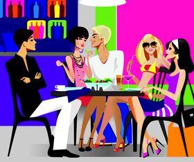 Fashionable men and women vector design