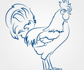 Draw Cock design vectors